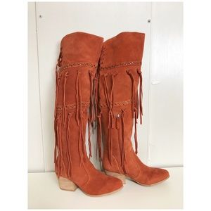 Mojo Moxy Brown Toreador Over knee Fringe Boots